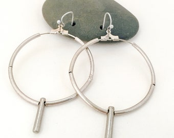 Bead Earrings, Bead Hoop Earrings. Metal Hoop Earrings.