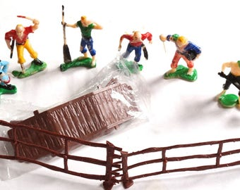 6 Vintage Pirate Figure Cake Toppers with Fences and Bridge,Cupcake Topper Lot,Cake Decorations,Pirate Themed Decor,Children's Party Decor,