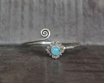 Blue Chalcedony Mandala Bracelet - 925 Silver