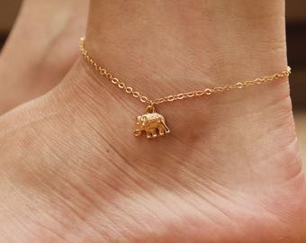 14K Gold Plated Elephant Ankle Bracelet, Elephants, Anklets, Ankle Bracelet, Silver Anklet, Boho Elephant