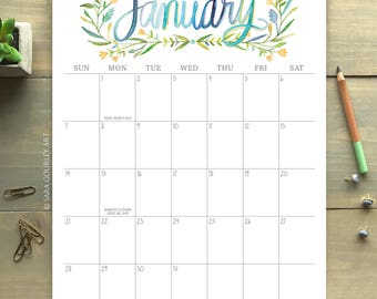 2018 Botanical Wall Calendar, 8.5x11, Watercolor Hand Painted, Illustration, Gift for Her, Christmas Gift, New Year