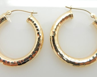 Solid 14K Yellow Gold Hoop Leverback Earrings; ku # 4001