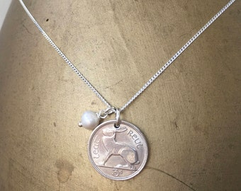 50th birthday gift for her, 1967 Irish coin necklace, Hare, harp, sterling silver chain, anniversary present woman