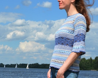 Crochet sweater PATTERN for sizes XS-4XL, crochet TUTORIAL in English for every row (charts included) top crochet pattern for yarn leftovers
