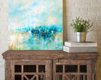 Blue Abstract Art, Coastal Art Decor, Coastal Decor Beach, Blue Abstract Painting, Beach Landscape, Coastal Landscape Painting