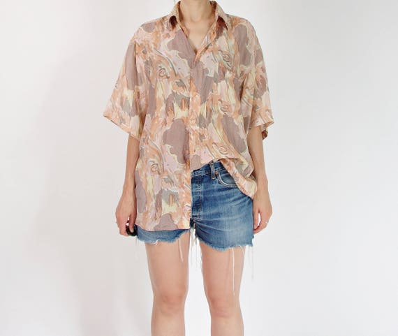 80s Neutrals abstract silk shirt / size M-XL