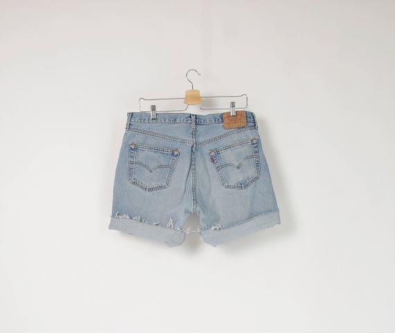 90s Levi's 501 high waisted cut off workwear denim men's shorts / w34-w36