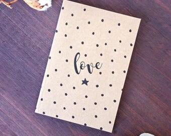 Polka Dots Love Notebook Kraft A6 - Bullet Journal