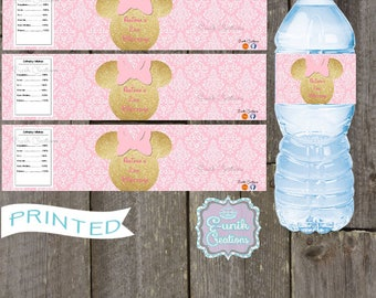 20 Minnie Mouse Pink and Gold Water Bottle Labels, Personalized Labels, Self-Adhesive, Printed Water Bottle Labels