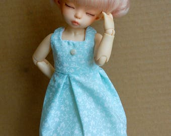 BJD YoSD Dress {Light Blue with Flowers}