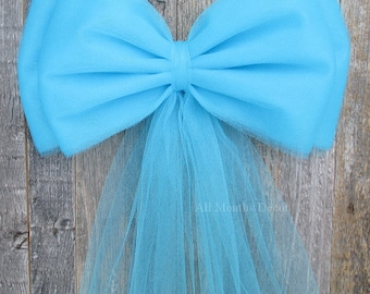 Aqua Tulle Pew Bow | Optional Bling Silver or Gold | Wedding Church Ceremony Decoration | Chair Sash | Party Bridal | It's A Baby Boy Shower