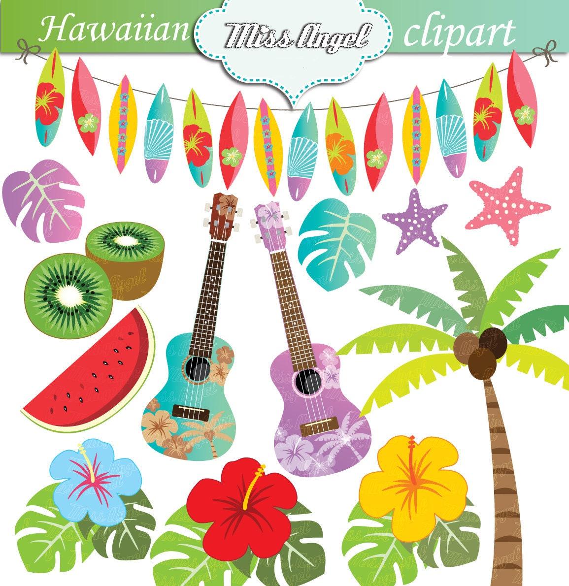 Hawaiian Summer Clipart. Hawaii Luau Beach clip art. Hibiscus