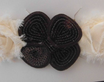 Brown and Ivory Flower Headband