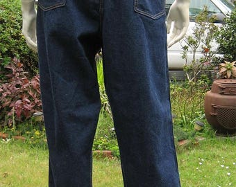 "Vintage 40's 50's Women's Crown Indigo Denim Chore Pants. High Waist Dungaree, Jeans. 30"" Waist"