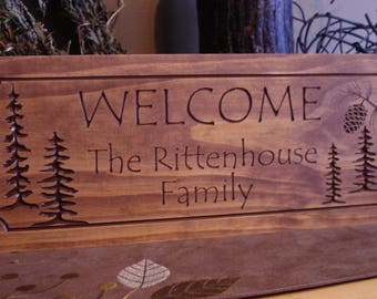 Address Plaque, Personalized Wooden Sign, Cabin Sins,  Welcome Signs, Pine cone, Rustic wood carved Sign, Free Shipping,  Cabin Plaque