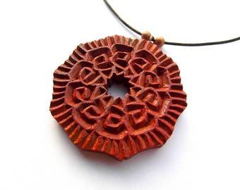 MANDALA number 1 pendant / handcarved on walnut wood