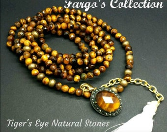 Tiger Eye long Necklace with Tiger Eye Pendant and Tassel. Tiger Eye Golden.
