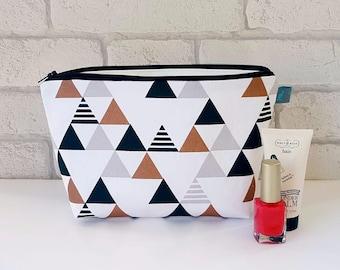 Geometric Triangle Metallic Makeup Bag / Cosmetic Bag