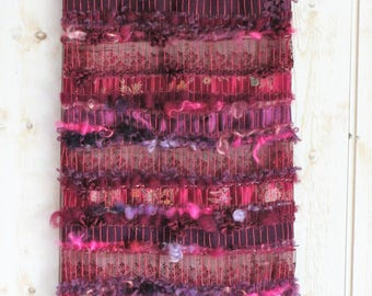 "Textile wall art, woven wall hanging, weaving wall hanging ""The Mysterious Purple"" with 12 flowers of violet purple organza, cottage style"