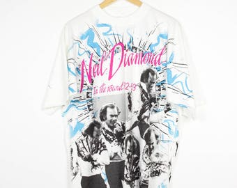 NEIL DIAMOND all over print shirt - vintage 92-93 in the round tour