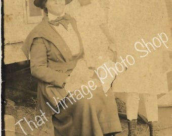 Vintage Photograph, RPPC African American Mother and Beautiful Daughters