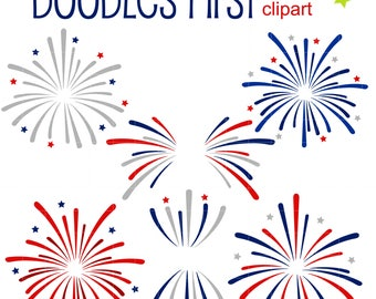 July 4th Fireworks Clip Art for Scrapbooking Card Making Cupcake Toppers Paper Crafts