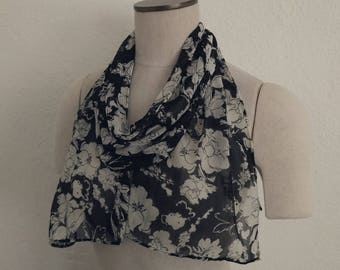 Black and White Floral Chiffon Scarf. Black and White Scarf. Floral Scarf. Floral Headscarf. Chiffon Scarf. Vintage Scarf. Vintage Floral.