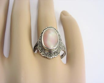 Vintage Pink Mother of Pearl Sterling Marcasite Ring Size 9
