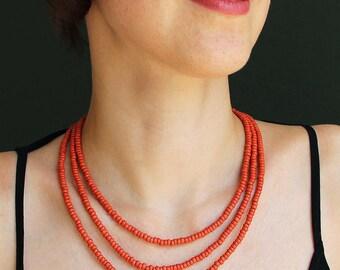 Multistrand simple everyday-Summer simple necklace-3 strand necklace-Terracotta necklace-Terracotta jewelry-Folk necklace-Folk jewelry