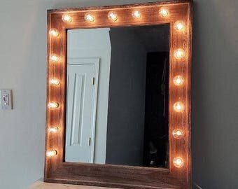 Large Vanity Mirror Reclaimed Driftwood Beveled Vertical Style Beauty Makeup Room Lights