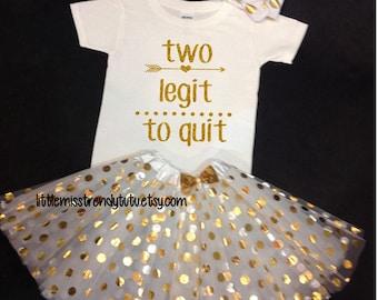 White Gold Tutu Set,  Birthday Set, Second Birthday, White Birthday Tutu, Two Legit To Quit Birthday Tutu Set,  Second Birthday Tutu Outfit