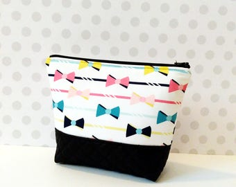 Bows Stripes Large Makeup Pouch / Multi Color