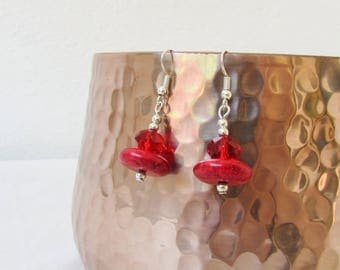 CLEARANCE Red magnesite earrings, Swarovski crystal and semi precious gemstone dangle earrings, sterling silver, handmade in the UK