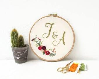 Wedding gift, customised hand embroidery, wedding keepsake, personalised anniversary gift, embroidery hoop art, handmade in the UK