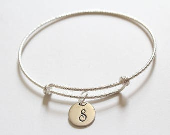Sterling Silver Bracelet with Sterling Silver Cursive S Letter Charm, Bracelet with Silver Letter S Pendant, Initial S Charm Bracelet, S