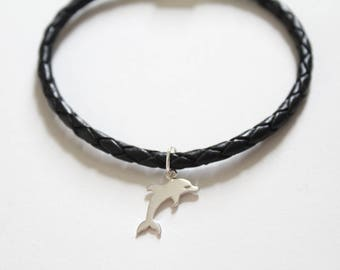Leather Bracelet with Sterling Silver Dolphin Charm, Dolphin Charm Bracelet, Dolphin Bracelet, Cute Dolphin Bracelet, Dolphin Pendant
