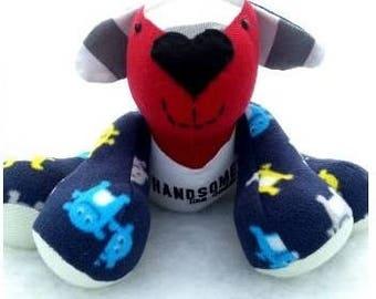Keepsake Dog, Memory Dog, Dogmade from Clothes, Memorial Dog, Baby Dog, Clothing Dog,