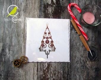 Steampunk Christmas Tree Blank Card, Steampunk Christmas Card, Christmas Tree Card, UK