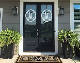 Double Door Wreaths: Metal Monogram Door Wreath, Monogram Door Hanger, Front  Door WREATHS