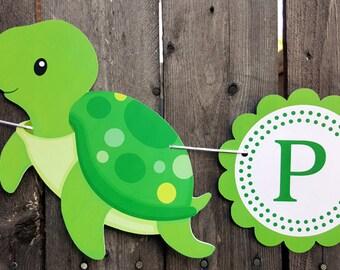 Turtle Banner - Turtle Birthday Banner - Turtle Baby Shower Banner