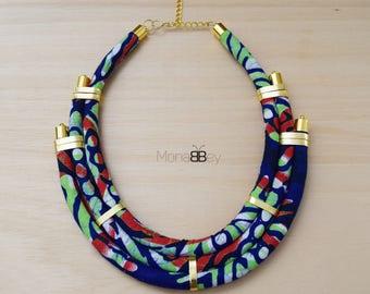 Textile necklace, Ankara Necklace, bijoux ethniques, collier wax africain, collier ethnique, african necklace, ankara necklace, collier wax