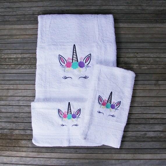 Unicorn Towel Set Embroidered Bath Towel Little Girls