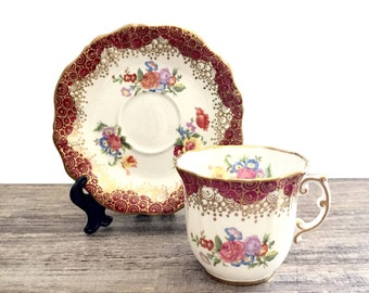 Vintage Hammersley Tea cup and saucer Demitasse Maroon Tea cup, Red Teacup, Gold Filigree Lace, English China, S-469