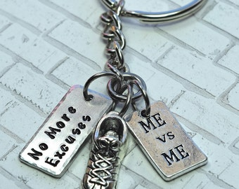 No More Excuses - ME vs ME - Running Shoe Keychain - Marathon Keychain - Track - Cross Country - Graduation Gift - Half Marathon 5K 10K