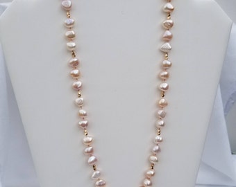 Pink Feshwater Pearl Necklace and Earrings
