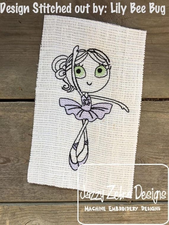 Swirly Ballerina 3 Sketch embroidery design - Ballerina embroidery design - ballet embroidery design - girl embroidery design - dance