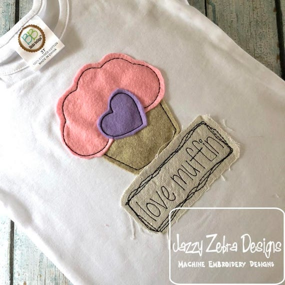 Love muffin shabby chic applique embroidery design - Valentine appliqué design - muffin appliqué design - girl appliqué design -boy appliqué