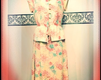 1970's Cherry Blossom Pin Up Kimono Style Dress by Ms Sugar, Size Medium, Vintage Grunge Courtney Love Cherry Blossom Peplum Dress, Asian P