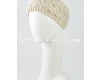 Cable Knitted Headband, Winter Headband for Women
