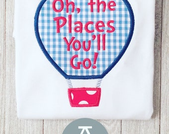 Air Balloon Applique | Oh The Place You'll Go | Dr Seuss